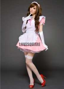 Lovely Costume Pink White Japan Maid Lolita 4 Pcs Outfit