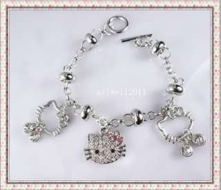 Hello Kitty Pendant Bracelet Crystal Bling Rhinestone NEW D010