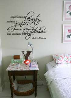imperfection is beauty madness is genius marilyn monroe wall decal