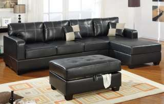 Black Modern Leather Sectional Sofa Set Couch 7328