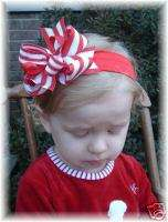 CHRISTMAS RED WHITE SILVER STRIPES HAIR BOW HEADBAND