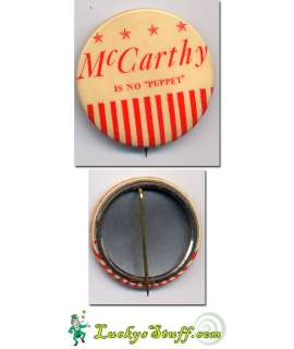 McCARTHY IS NO PUPPET   Celluloid PINBACK Eugene WI