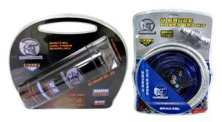 BULLZ AUDIO EPAK4BL 4 Gauge Amplifier Amp Wiring Kit + 2.2 Farad Power