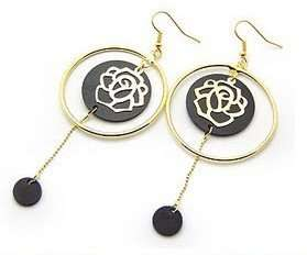 4444 New Fashion Jewelry Womens Gold Circle Roses Earring Stud