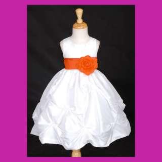 NEW WHITE ORANGE TAFFETA WEDDING BRIDAL FLOWER GIRL DRESS 6M 9M18M 2 4