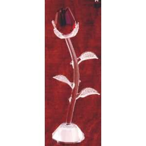 Ruby Red Glass Rose