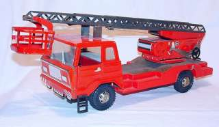 Joustra France FIRE ENGINE LADDER TRUCK Tin Wind Up `70