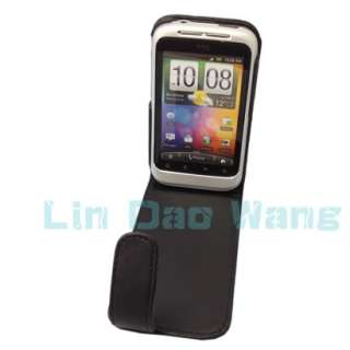 Black Leather Case Cover Pouch + LCD Film For HTC Wildfire S A510E