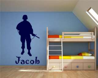 ARMY SOLDIER WALL DECAL STICKER DECAL BOYS ROOM #AS2