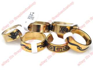 Wholesale lot black enamel GOLD STAINLESS STEEL RINGS