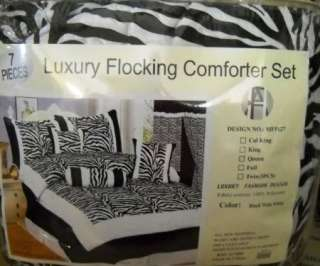 15pc Black/White Silk Zebra Comforter & Drape CAL KING