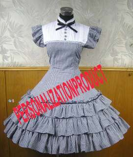 Lolita Stunning Necktie Black/white Gingham knee length Dress