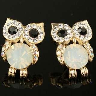 Cute Swarovski Crystal Gold GP Owl Earring Stud O100