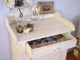 Shabby Cottage Chic Cream French Style Dry Sink Storage Cabinet