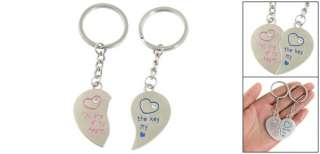 Couple Diamante Inlay Metal Heart Charms Ring Keychain