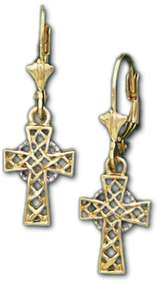 New Sterling Silver / Gold Irish Celtic Cross Earrings