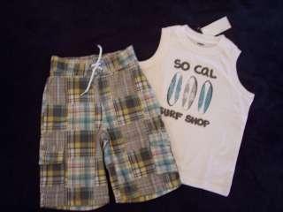 NWT Boys Gymboree Surf Rocks short sleeve shirts tank top & elastic