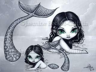 Mermaid Mother & Child baby fantasy sea art BIG PRINT