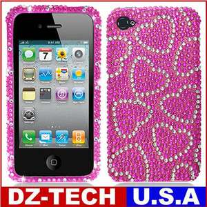 Sprint Verizon AT&T Pink Heart Bling Hard Case Cover Accessory