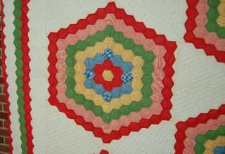 VIBRANT1860s Honeycomb Hexagon Stars Hand Stitched Antique Quilt