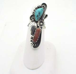 Navajo Native American Silver Turquoise Stone Ring