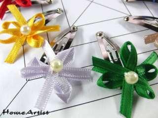 Pinzas para pelo hechas con flores y/o lazos de seda. Perola cosida