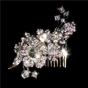 Delicate Flower Bridal Hair Comb Clip Austrian Rhinestone Crystal