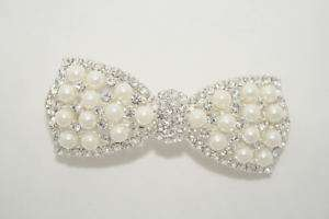 WEDDING BRIDAL FAKE PEARL BOW TIE HAIR CLIP BARRETTE