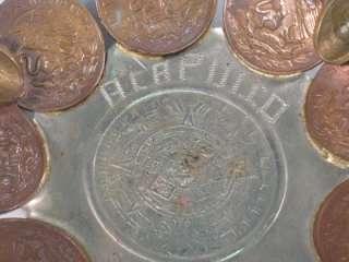 VINTAGE ACAPULCO MEXICAN COIN ASHTRAY AZTEC CALENDAR