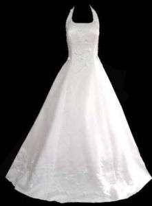 New A Line Halter Wedding Gown Dress sz 16 Light Ivory