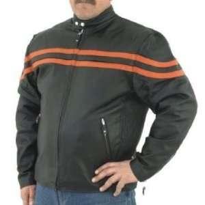 Vented Leather Motorcycle Jacket, Orange Racing Stripes Automotive