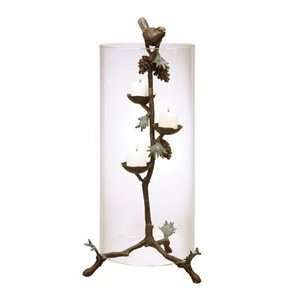 Brass Rustic Pine Cone Lodge Hurricane Candle Holder Home & Kitchen