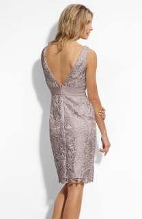 NEW ADRIANNA PAPELL V Neck Lace Sheath DRESS SIZE 6P SILVER