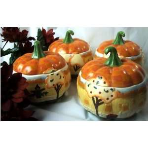 ENESCO Jim Shore SET/4 Pumpkin Bowls REDUCED! THANKSGIVING
