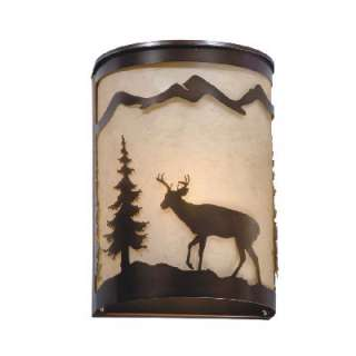 NEW 1 Light Rustic Deer Wall Sconce Lighting Fixture, Burnished Bronze