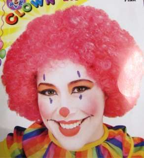 Clown Pink Afro Clown Adult Costume Wig NEW