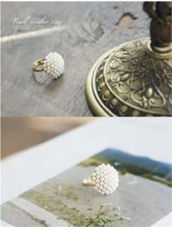 Fashion Gold Color Pearl Powder Ring (Size 6) W07 great gift