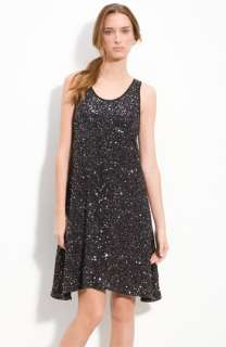 NEW EILEEN FISHER ENCRUSTED SPARKLE BLACK SEQUIN TANK KNEE LENGTH