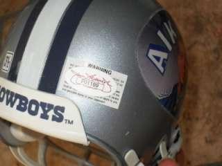 TROY AIKMAN Signed Cowboys Mini Helmet JSA