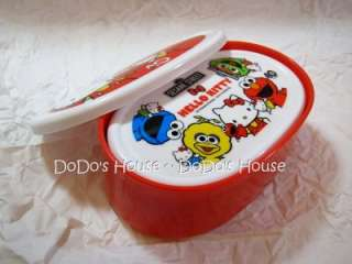 Japan Only Hello Kitty Sesame Street Elmo Lunch Box 3pc