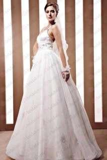 Classic White Spaghetti Strap V Neck Beaded Long Wedding Dress