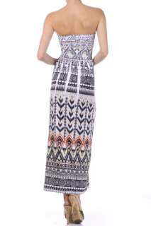 Multi Color Printed Strapless Long Sexy Summer Beach Maxi Dress
