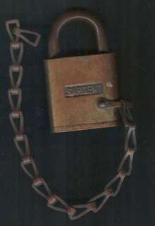 OLD SARGENT PADLOCK ON CHAIN NO KEY