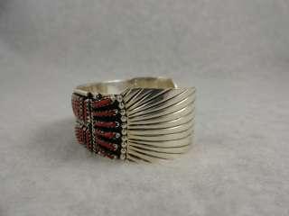 Zuni bracelet needle point coral row Native American jewelry