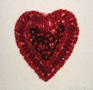 VALENTINE DAY RED HEART SEQUIN BEADED APPLIQUE W28