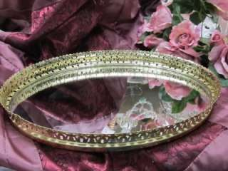 VINTAGE SHINY GOLD LACY METAL VANITY MIRROR~Shabby~Cottage~Chic