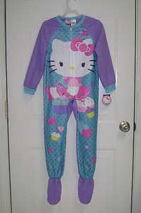 NWT GIRLS HELLO KITTY WARM PURPLE FOOTED PAJAMAS BLANKET SLEEPER 4/5 6