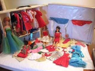 Vintage Barbie Lot Barbie Midge Fashion Queen Dolls Clothes Case Mod