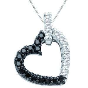 10K White Gold 1/4 ct. Black and White Diamond Heart Pendant with