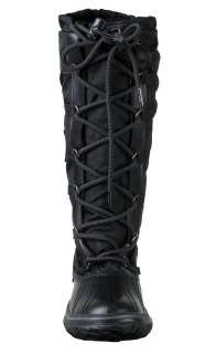 Pajar Womens Knee High Winter Boots Grip Black Nylon and Leather Upper